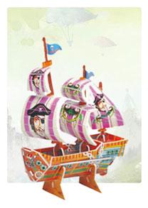 2607系列  2607-4小海盗船 帆船立体拼图