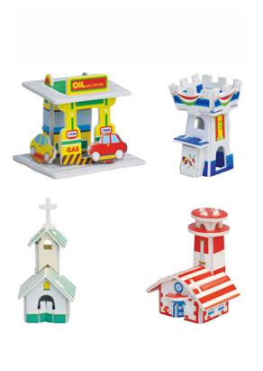 小房子(12款) 纸质立体拼图
