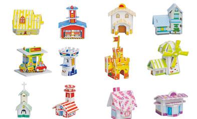 582 小房子(12款) 纸质立体拼图